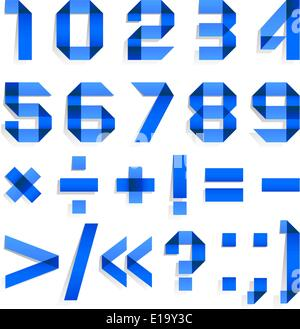 Font folded from colored paper - Arabic blue numerals (0, 1, 2, 3, 4, 5, 6, 7, 8, 9). - Stock Photo