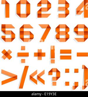 Font folded from colored paper - Arabic numerals, orange - Stock Photo