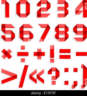Font folded from colored paper - Arabic numerals, red - Stock Photo