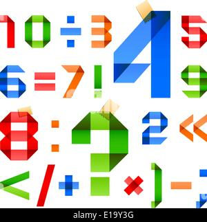 Font folded from colored paper - Arabic numerals, 10eps - Stock Photo