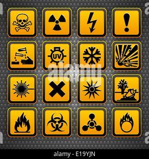 Hazard symbols orange vectors sign, on metal surface - Stock Photo