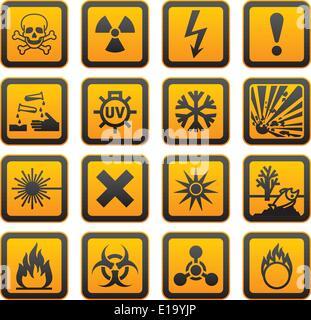 Hazard symbols orange vectors sign, rounded corners - Stock Photo