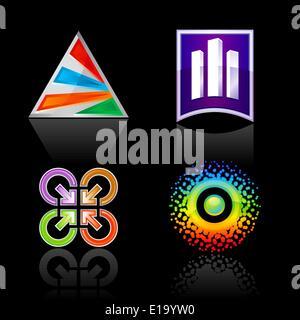 Set symbol for logo designing, on a black background. The emblems for your business logotypes design - Stock Photo