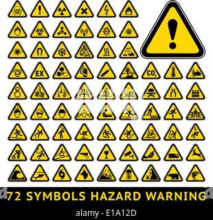 72 symbols triangular warning hazard. Big yellow set - Stock Photo