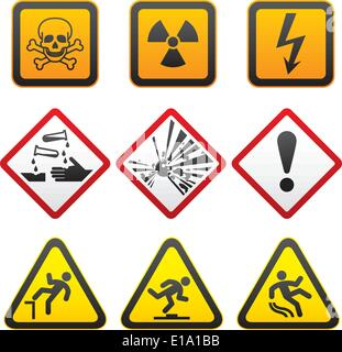 Warning symbols - Hazard Signs-First set. vector - Stock Photo