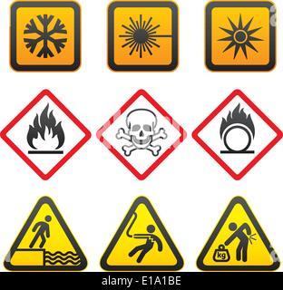 Warning symbols and Hazard Signs-Third set - Stock Photo