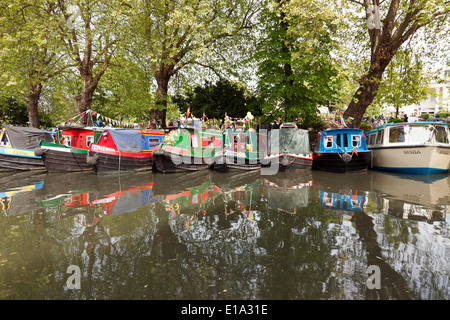 Narrow boats moored at London's Little Venice, as part of the 2014  Canalway Cavalcade. - Stock Photo