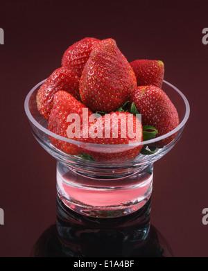 Fresh Strawberries in Glass Dish - Stock Photo