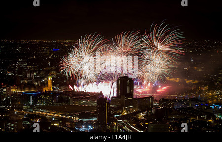 NEW YEAR'S EVE PARTY AT THE SHARD FIREWORKS THE VIEW AS SEEN FROM THE SHARD - Stock Photo