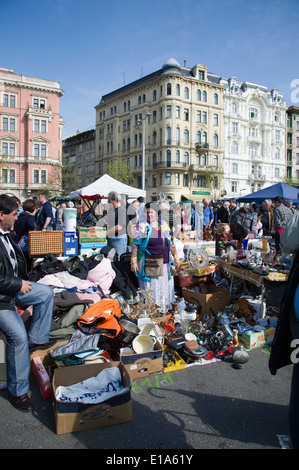 flea market on the vienna Naschmarket, Austria - Stock Photo