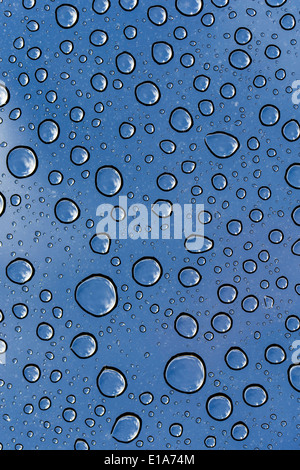 Beads of rain water droplets on Toyota 4Runner truck - Stock Photo