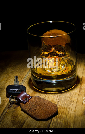 A glass of whiskey with a skull ice cube with car keys.