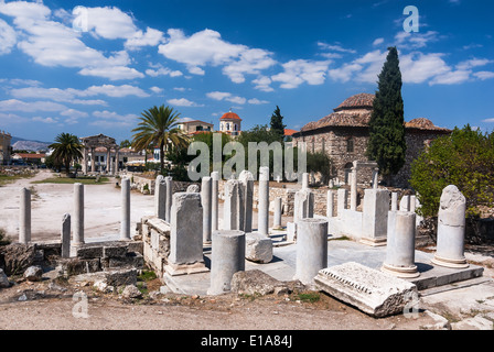 Ruins in the ancient marketplace of Agora in Athens ...