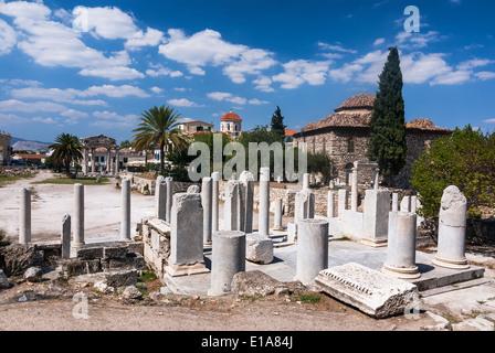 Athens, Greece. Ancient ruins of Roman Agora, city center in Roman Empire greek culture. - Stock Photo