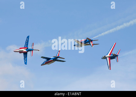 Patroulle de france aerobatic performing at Duxford, England. - Stock Photo