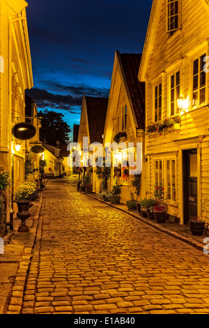 White wooden houses classic architecture in the old part of Stavanger, Norway. - Stock Photo