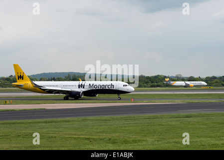 Monarch Airlines Airbus A320-200 Series Airliner G-  Taxiing at Manchester International Airport England United - Stock Photo