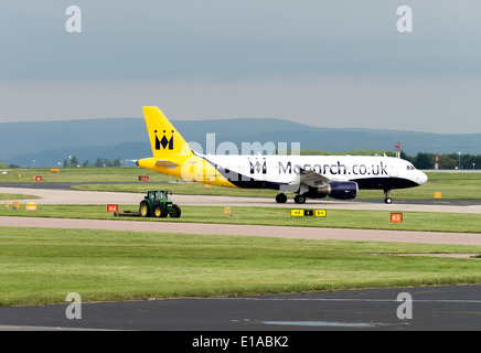 Monarch Airlines Airbus A320-200 Series Airliner G-MRJK Taxiing at Manchester International Airport England United - Stock Photo