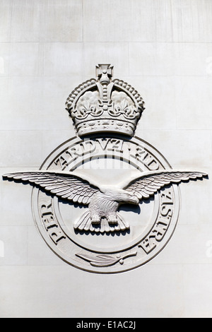 Eagle and crown Shield on the outside of the The Royal Air Force Bomber Command Memorial London England - Stock Photo