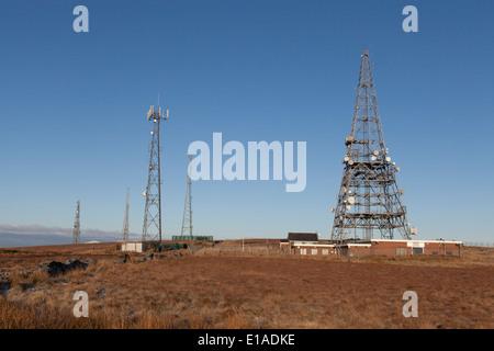 Radio TV and satellite antennas on the top of Winter Hill Lancashire - Stock Photo