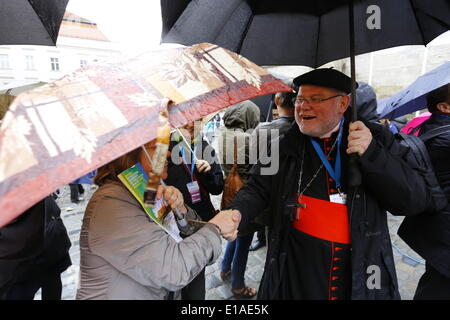 Regensburg, Germany. 28th May 2014. Reinhard Marx, the Cardinal archbishop of Munich and Freising (right) greets - Stock Photo