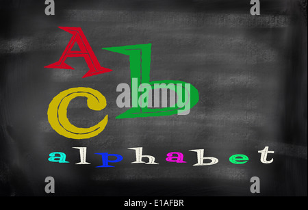 English alphabet with funn color - Stock Photo