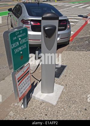 City Car Share electric car charging station San Francisco - Stock Photo