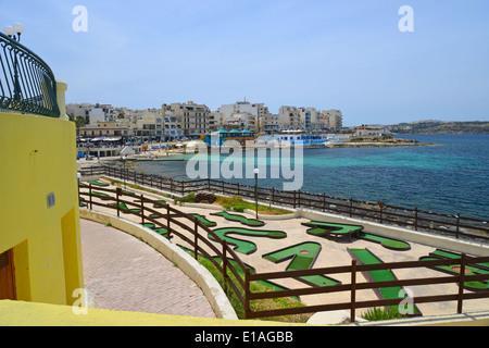 Seafront promenade, Buġibba, Saint Paul's Bay (San Pawl il-Baħar), Northern District, Republic of Malta - Stock Photo