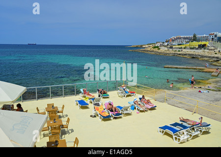 Seafront beach, Buġibba, Saint Paul's Bay (San Pawl il-Baħar), Northern District, Republic of Malta - Stock Photo
