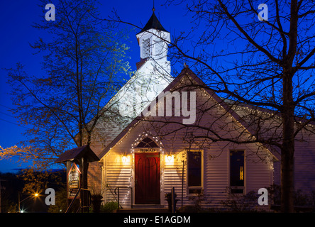 Port Carling United Church built in 1878 at dusk. Port Carling, Ontario, Canada. - Stock Photo