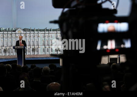St Petersburg, Russia. 23rd May, 2014. Russian President Vladimir Putin delivers a speech during the Saint Petersburg - Stock Photo