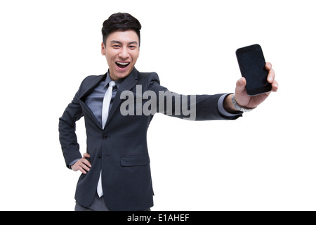 Cheerful businessman being proud of his smart phone - Stock Photo