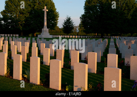 Bayeux British war cemetery from WWII containing graves of soldiers killed in the Battle of Normandy - Stock Photo
