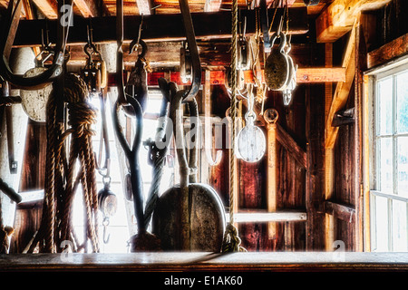 Old Sailboat Rigging Supplies Displayed in a Rigging Loft, Mystic Seaport Museum, Connecticut - Stock Photo