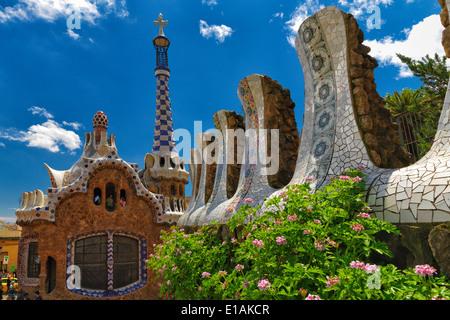 Entrance Pavilion View at Park Guell Designed bu Antoni Gaudi, Barcelona, Catalonia, Spain - Stock Photo