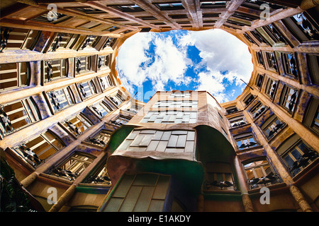 Sky View from La Pedrera, Barcelona, Catalonia, Spain - Stock Photo