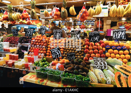 Fruits and vegetables for sale at La Boqueria Market, Barcelona, Catalonia, Spain - Stock Photo