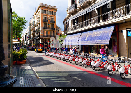 Bicycles For Rent on La Rambla, Barcelona, Catalonia, Spain - Stock Photo