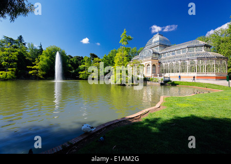 View of the Crystal Palace in the Buen Retiro Park, Madrid Spain - Stock Photo