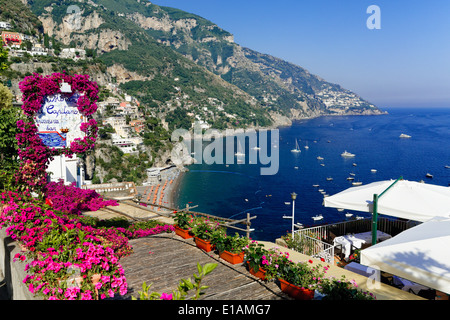 High Angle View of a Beach and Coast from a Hillside Terrace, Positano, Campania, Italy - Stock Photo