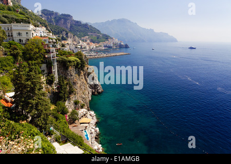 High Angle View of the Amalfi Coastline at Amalfi, Campania, Italy - Stock Photo