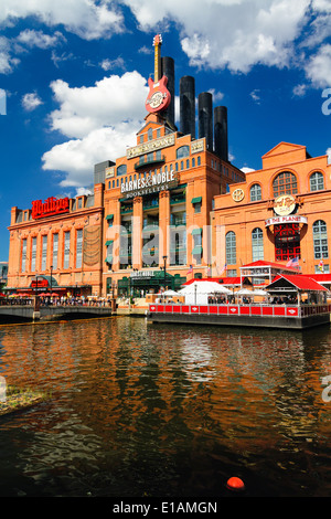 Low Angle Vertical View of the Revived Industrial Buildings in Baltimore Inner Harbor, Maryland - Stock Photo