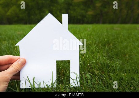 real estate concept, hand holding house - Stock Photo