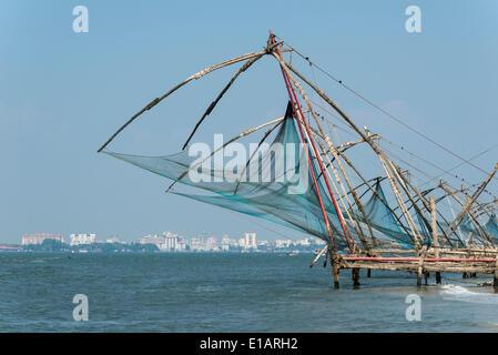 Cheena vala or Chinese fishing nets, Fort Kochi, Kochi, Kerala, India - Stock Photo