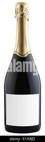 closed bottle of champagne isolated on white background, clipping paths - Stock Photo