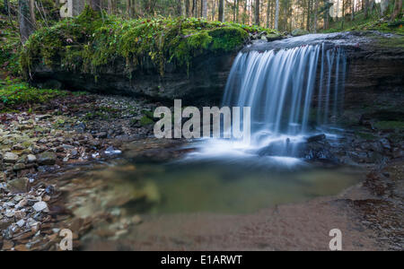 Waterfall on a tributary of the Taugl river, Hallein District, Salzburg, Austria - Stock Photo