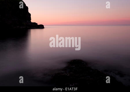Rocks and sea, Viðoy, Faroe Islands, Denmark - Stock Photo