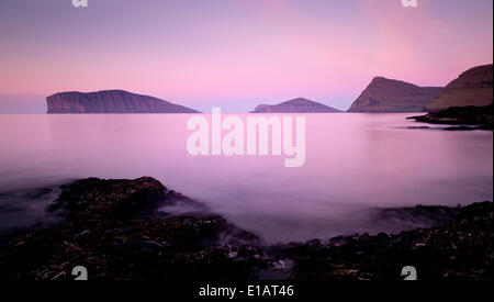 The islands Fugloy and Svínoy, Viðoy, Faroe Islands, Denmark - Stock Photo
