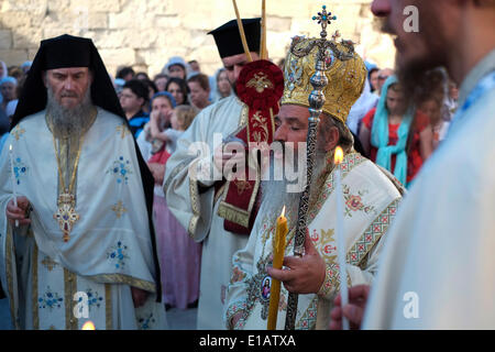Jerusalem, Israel. 29th May, 2014. Armenian clergy taking part in a ceremony at Chapel of the Ascension on the - Stock Photo