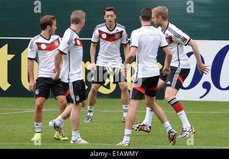 Passeier, Italy. 29th May, 2014. Mario Goetze (L-R), Bastian Schweinsteiger, Mesut Oezil, Julian Draxler and Per - Stock Photo